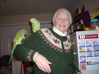 Beverly with Parakeets