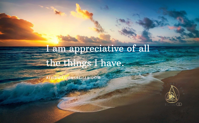 I am appreciative of all the things I have